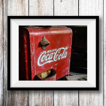 Antique Coca Cola Cooler Wall Art Print -- Fine Art landscape photography, Vintage, Home Decor, HeatherRobersonPhoto