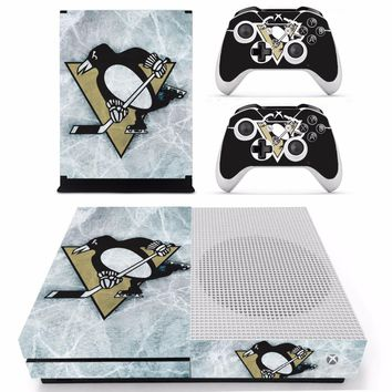 NHL Pittsburgh Penguins Skin Sticker Decal For Microsoft Xbox One S Console and 2 Controllers For Xbox One S Skins Sticker Vinyl