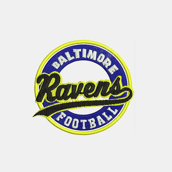 Baltimore Ravens Logo With Round Shape Embroidery Design - Instant Download Filled Stitches Design 345I