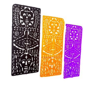 3 Pack Dia de Muertos Table Runners Papel Picado