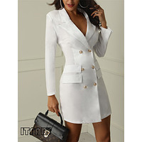 Women business  Sexy Casual outwear women slim Button business dress  women