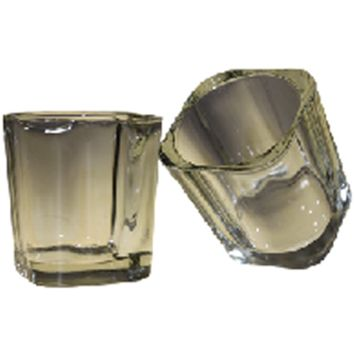 Clear - Votive Candle Holder - Chunky Squarish