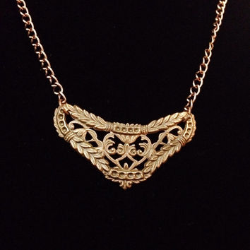 Copper lace collar pendant necklace