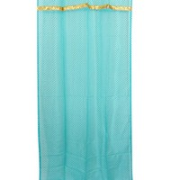 """2 Moroccan Curtains Organza Turquoise Golden Border Sheer Drapes Window Panel (Length: 84"""")"""