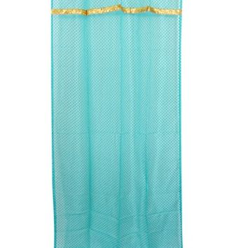 "2 Moroccan Curtains Organza Turquoise Golden Border Sheer Drapes Window Panel (Length: 84"")"
