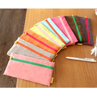 Sweet leather pencil pen case pouch Make up bags cosmetic pouch