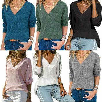 USA Stock Women Solid V Neck Long Sleeve T-Shirt Casual Loose Tunic Blouse Tops