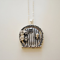 Hobbit - The Shire Sterling Silver Bag End Hobbit Door Locket Necklace by Emeline Darling
