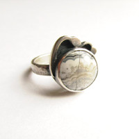 Wave Ring - Sterling Silver - Crazy Lace Agate - Hand Cut Lapidary - Silversmith - US size 6 - RMD Designs
