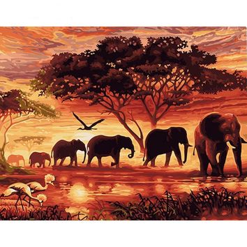 Elephants Landscape Canvas Wall Art - DIY Painting By Numbers Kit
