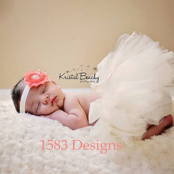 Newborn PHOTO PROP Tulle Tutu Skirt with Open Waist and Satin Bow - Pick your colors - infant baby girl portraits