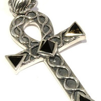 Faceted Indochinite Pendant Egyptian Ankh Scarab Tektite Sterling Silver Jewelry