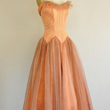 vintage 1950s prom dress / 50s nutmeg satin and tulle dress / 1950s party prom dress