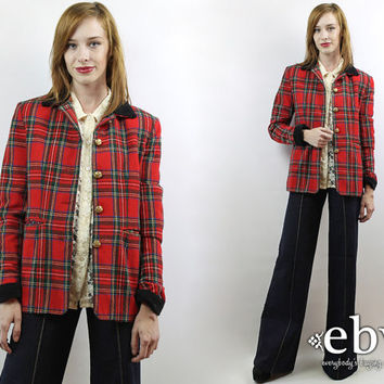 Vintage 90s Red Plaid Military Blazer S M Red Plaid Blazer Plaid Jacket Wool Blazer Fitted Blazer Military Blazer
