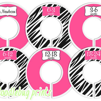 Baby Closet Dividers - Baby Clothing Dividers Pink and Zebra Nursery Closet Dividers Zebra Closet Dividers - Assembled