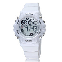 GOHUOS Women's Electronic Sports LED Digital Chronograph Multifunction Calendar Alarm Wrist Watch White