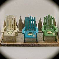 Handmade wood Adirondack Chair Candle Holder With textured ( sand like) Paint on Reclaimed Picket Fence protecting Dunes