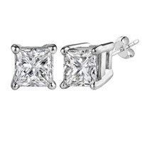 14kt White Gold 4mm Princess Cut White Cubic Zirconium Stud Earrings
