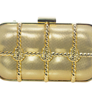 Gold Tone Minaudiere Evening Clutch