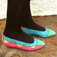 Vintage suede shoes in pastel colours UK 5.5 | E-Vintage | ASOS Marketplace