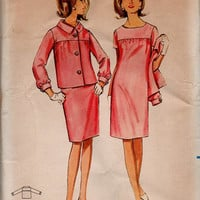 Mad Men Style Retro 60s Butterick Sewing Pattern Sheath Dress Empire Waist Matching Jacket Casual Day Fashion Uncut Bust 34