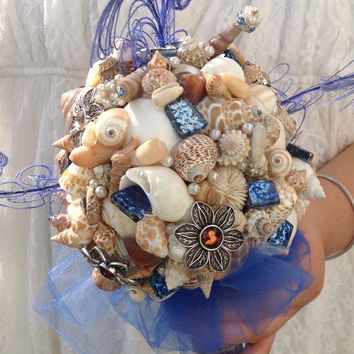 Nautical Seashell Bouquet Royal Blue, Alternative Brooch Shell Bouquet, Beach Bride