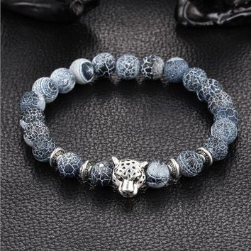 ONETOW Natural gray blue weathering agate stone hand string round Buddha beads lion leopard head bracelet jewelry