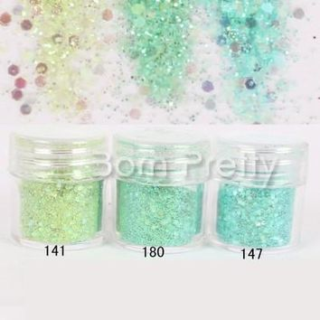 1 Box 10ml Green Series Nail Glitter Powder Dazzling Sequins Nail Dust Tips Nail Art Decorations #23410