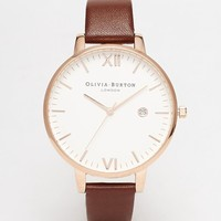 Olivia Burton Timeless Leather Strap Oversize Dial Watch