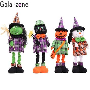 Gala-zone 1Pc Cartoon Plush Standing Doll Retractable Doll Pumpkin/Black Cat/Ghost Stuffed Toy Halloween DIY Decoration