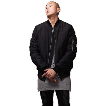 Fashion Military Style Mens Black Bomber Jacket Hi-Street Flight Jacket Slim Fit Hip Hop Varsity Letterman Jacket For Man LQ001