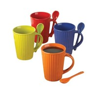 Cafe Bistro Coffee Ceramic Beverage Cup Mug Spoon Set