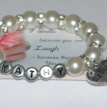 big sister name bracelet - personalize jewelry - gift for big sisters - monogram gift - initial bracelet - custom name - handmade bracelet