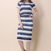 Aqua Striped Lace Top and Pencil Skirt Set