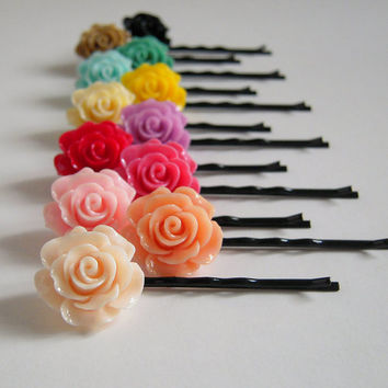 Large Rose Hair PIns Set Of Two, Pick Your Own Color, Black, Toffee, Turquoise, Blue, Yellow, Ivory, Orchid, Pink, Peach, Vanilla