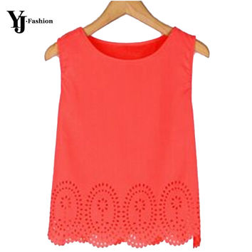 YJ Fashion Chiffon Shirt  Off Shoulder Women Blouses Summer Hollow Out Cropped Tank Top Casual Solid Blusas Feminina 3XL 4XL