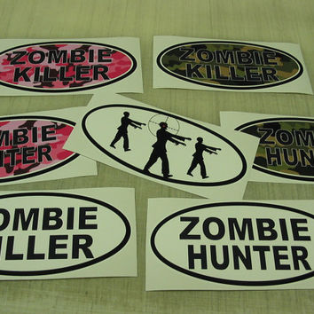 Zombie Hunter Killer Pink & Green Camo Oval Car Decal Window Bumper Sticker 7 decal lot!