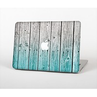The Trendy Teal to White Aged Wood Planks Skin Set for the Apple MacBook Air 11""