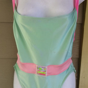 Vintage 80s sassafras swimsuit / aerobics wear /workout leotard size xl