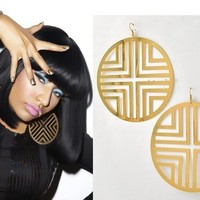 Fatima Metal Gold Hoop Dangle Earrings Nicki Minaj Basketball Wives Poparazzi
