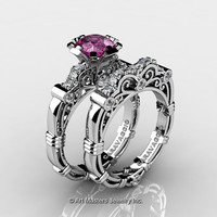 Art Masters Caravaggio 14K White Gold 1.0 Ct Pink Sapphire Diamond Engagement Ring Wedding Band Set R623S-14KWGDPS