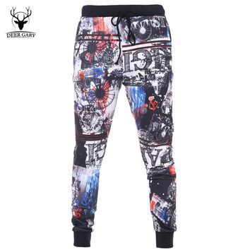 2016 New Autumn Fashion Pattren Printed Mens Joggers Male Trousers Men Pants Casual  Slim Sweatpants Men Jogger