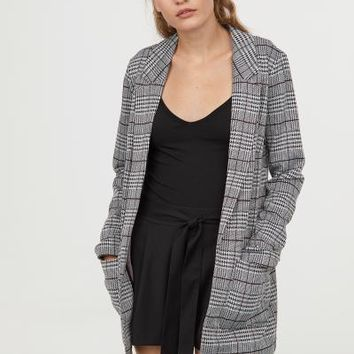 Long Jacket - Black/checked - Ladies | H&M US