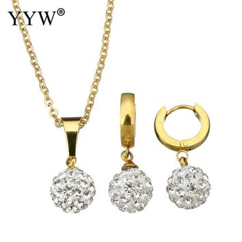 Gold Crystal Ball Bead Earrings & Necklace For Women