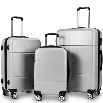 "3 Pcs Luggage Set 20"" 24"" 28"" Trolley Suitcase w/ TSA Lock Water-proof Carry on Luggage with Wheels Low-key and Simple Style"