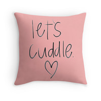 'let's cuddle' Throw Pillow by MillerHemsworth