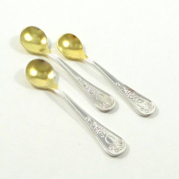 Vintage Gold Washed Silver Plate Salt Spoons from Russia
