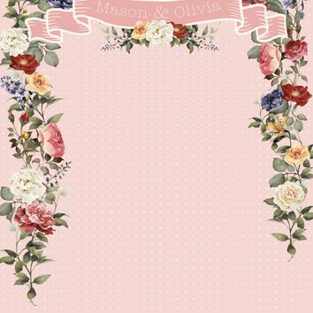 Custom Floral Flower Backdrop (Multiple Colors and Sizes Available) Wedding, Shower, Photo Booth, Engagement, Anniversary - C063
