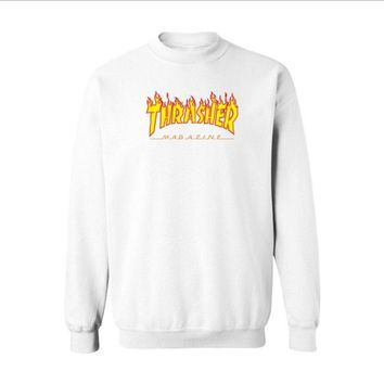 Fall and Winter Thrasher Flame Skateboard Tide Death Hip Hop West Coast Harajuku cotton round neck sweater Yellow letters-1