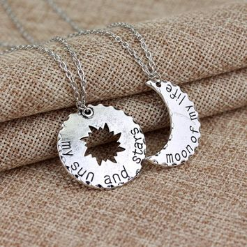 1 set Game Of Thrones His&Hers Khal/Khaleesi Lovers Chain Necklaces Moon Of My Life,My Sun & Stars Pendants Jewelry